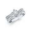 Contour 4-Prong Round-Cut & Pave Side CZ Engagement Ring Set in 14K White Gold