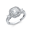 1.25CT Halo Round-Cut & Baguette Side CZ Wedding Ring in 14K White Gold
