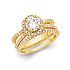 Reverse Split Shank Pave Halo 1-CT Round CZ Wedding Ring Set in 14K Yellow Gold