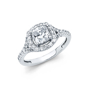 Halo 1.25CT Cushion-Cut Split Shank & Scalloped Sides CZ Wedding Ring in 14K White Gold
