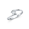 Bypass Channel Round-Cut CZ Engagement Ring in 14K White Gold