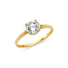 Solitaire 1-CT 4-Prong Basket-Set Round-Cut CZ Wedding Ring in 14K Yellow Gold