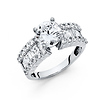 2.75-CT V-Prong Round & Princess-Cut Wedding Ring in 14K White Gold