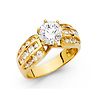 1.5-CT 6-Prong Round & Baguette Side Two-Tone in 14K Yellow Gold