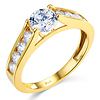 Floating Round-Cut & Side Channel CZ Engagement Ring in 14K Yellow Gold