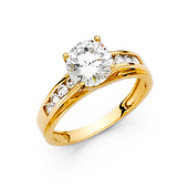 1.5-CT Trellis Cathedral-Set with Channel Side CZ Wedding Ring in 14K Yellow Gold