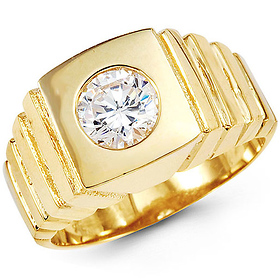 11.5mm Ridged Band Solitaire Round CZ Men's Ring in 14K Yellow Gold