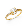 4-Prong Round Halo & Pave Sides CZ Wedding Ring in 14K Yellow Gold