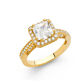 1.75 CT Princess-Cut Halo & Round Pave Side CZ Wedding Ring in 14K Yellow Gold