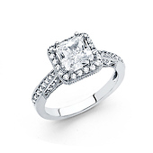 1.75 CT Princess-Cut Halo & Round Pave Side CZ Wedding Ring in 14K White Gold