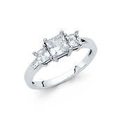 1-CT Three-Stone Basket Princess-Cut CZ Engagement Ring in 14K White Gold