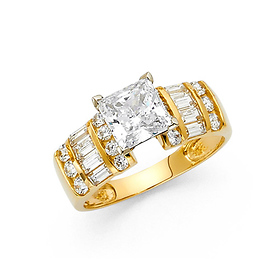 2.5-CT 4-Prong Princess with Baguette & Round Side CZ Engagement Ring in 14K Yellow Gold