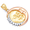 Smiling Face Sun & Moon Pendant in 14K Tricolor Gold - Petite