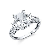 3-Stone Basket-Set 3CT Radiant-Cut & Pave Side CZ Engagement Ring in 14K White Gold