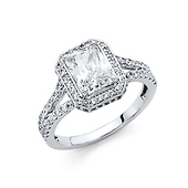 Scalloped Split Shank 1.75-CT Radiant-Cut Halo CZ Engagement Ring in 14K White Gold