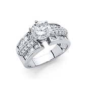 1.25CT 6-Prong Round-Cut with Triple Row Side CZ Engagement Ring in 14K White Gold