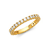 2.5mm Scallop Round-Cut CZ Eternity Ring Wedding Band in 14K Yellow Gold 0.75ctw