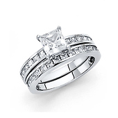 4-Prong Princess-Cut & Channel Side 1.25CT CZ Wedding Ring Set in 14K White Gold