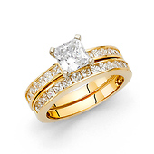 4-Prong Princess-Cut & Channel Side 1.25CT CZ Wedding Ring Set in 14K Yellow Gold