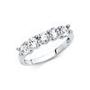 5-Stone Trellis Prong-Set Round CZ Wedding Band in 14K White Gold