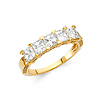 4mm 5-Stone Basket Heart-Prong  Princess-Cut CZ Wedding Band in 14K Yellow Gold