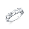 4mm 5-Stone Basket Heart-Prong  Princess-Cut CZ Wedding Band in 14K White Gold