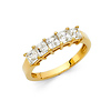 5-Stone Princess-Cut Basket-Set CZ Wedding Band in 14K Yellow Gold