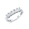 5-Stone Princess-Cut Basket-Set CZ Wedding Band in 14K White Gold