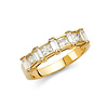 5mm Princess with Baguette Pattern Channel & Prong CZ Wedding Band in 14K Yellow Gold