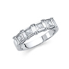 3.2mm Princess with Baguette Pattern Channel & Prong CZ Wedding Band in 14K White Gold