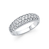 3-Row Pave Round-Cut Dome Wedding Band in 14K White Gold