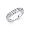 2-Row Pave Round CZ Wedding Band 14K White Gold 0.45ctw