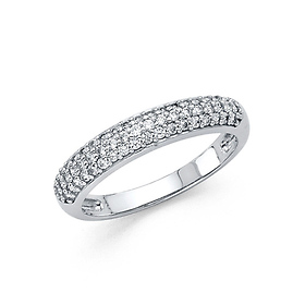 3-Row Pave Dome Wedding Band in 14K White Gold