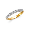 2.5mm Two-Tone Pave Dome Wedding Band in 14K Yellow Gold