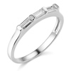 Three Baguette Bar-Set CZ Wedding Band in 14K White Gold