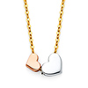 Floating Duo Hearts Pendant Necklace in 14K Tricolor Gold