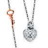 Floating Key and Heart Charm CZ Necklace in 14K Two-Tone Gold