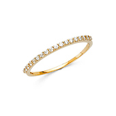 18-Stone Round-Cut CZ Wedding Band in 14K Yellow Gold