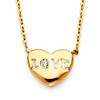 Floating CZ 'LOVE' Heart Necklace in 14K Yellow Gold