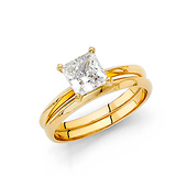 1.25CT Princess-Cut Knife-Edge CZ Engagement Ring Set in 14K Yelllow Gold