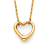Classic Open Heart Floating Charm Necklace in 14K Yellow Gold