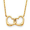 Floating Heart Infinity Necklace in 14K Yellow Gold