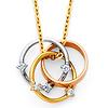 Triple Infinty Rings CZ Necklace in 14K Tricolor Gold
