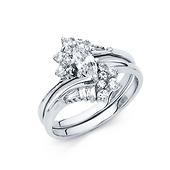 Contour Marquise-Cut & Baguette Side CZ Engagement Ring Set in 14K White Gold