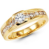 Round Solitaire & Channel-Set CZ Men's Ring in 14K Yellow Gold