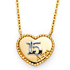 Floating Quinceanera 15 Anos Milgrain Heart Necklace in 14K Two-Tone Gold