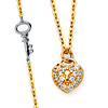 Floating Key Micropave CZ Heart Lock Necklace in 14K Two-Tone Gold