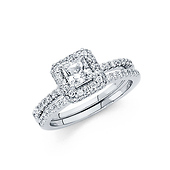 Halo Princess-Cut & Round Pave with Scalloped Side CZ Wedding Ring in 14K White Gold