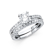 1-CT Round 4-Prong with Fishtail Side CZ Engagement Ring Set in 14K White Gold