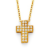 Floating Micropave Mini Cross Necklace in 14K Yellow Gold